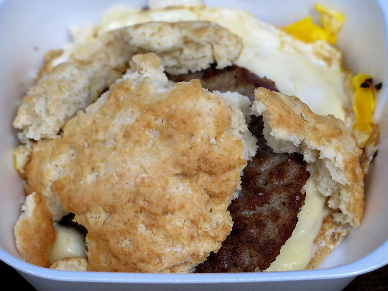 Sausage, egg, and cheese biscuit breakfast sandwich pieces. | Coyoty's ...