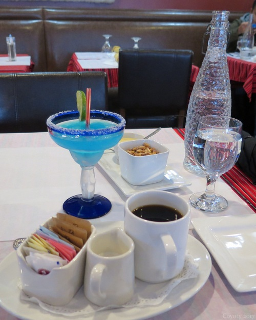 Blue margarita, coffee, water, and cancha