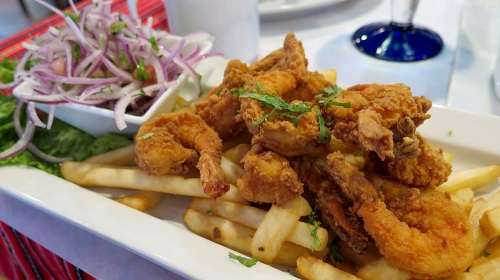 Chicharron de Colas de Camaron with fries
