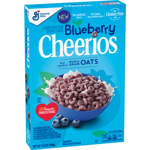 Blueberry Cheerios, General Mills' new permanent flavors, have hit shelves and will continue roll out nationally this spring.