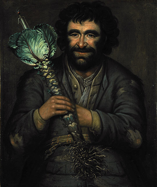 This work by painter Richard Waitt depicts a Scottish jester or fool holding a kale lantern (note the candle at the top)—a practice that was part of 1800s Halloween parades.