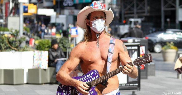 Naked Cowboy with face mask